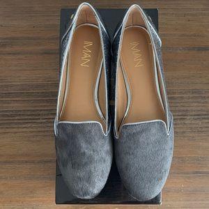 IMAN Grey Calf Hair & Glitter Leather Flats Shoes